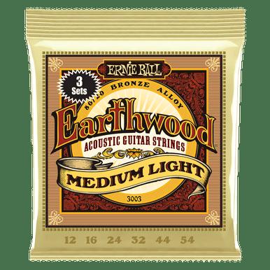 Ernie Ball Earthwood Medium Light 80/20 Bronze Acoustic Guitar Strings 3 Pack, 12-54 Gauge