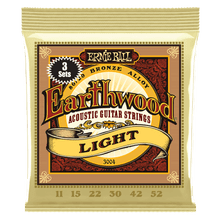 Ernie Ball Earthwood Light 80/20 Bronze Acoustic Guitar Strings 3-Pack, 11-52 Gauge