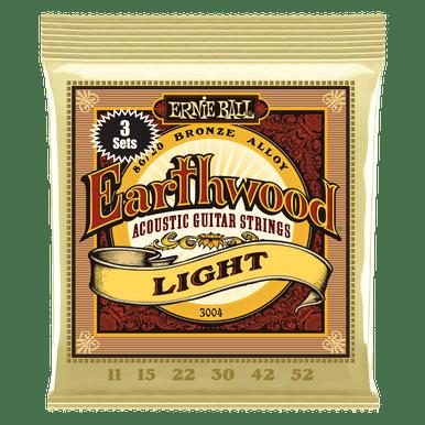 Ernie Ball Earthwood Light 80/20 Bronze Acoustic Guitar Strings 3-Pack, 11-52 Gauge