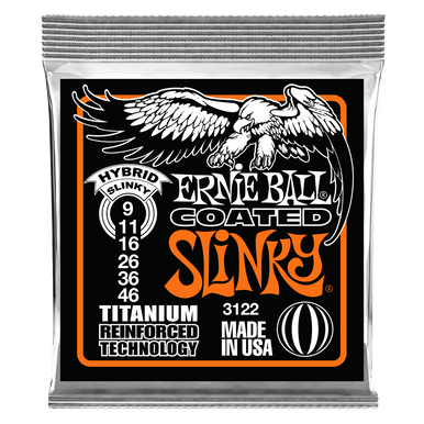 Ernie Ball Hybrid Slinky Coated Titanium RPS Electric Guitar Strings, 9-46 Gauge