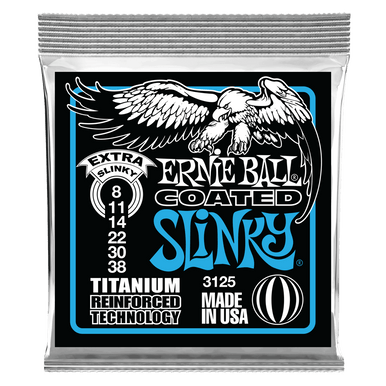 Ernie Ball Extra Slinky Coated Titanium RPS Electric Guitar String, 8-38 Gauge