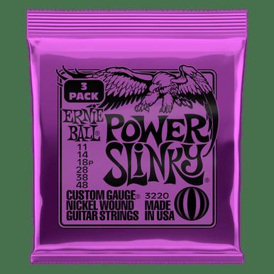 Ernie Ball Power Slinky Nickel Wound Electric Guitar Strings 11-48 Gauge, 3 Pack