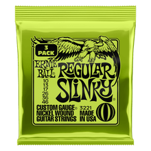 Ernie Ball Regular Slinky Nickel Wound Electric Guitar Strings 3 Pieces Pack, 10-46 Gauge