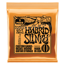 Ernie Ball Hybrid Slinky Nickel Wound Electric Guitar Strings 3 Pack, 9-46 Gauge