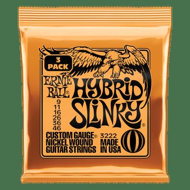 Ernie Ball Hybrid Slinky Nickel Wound Electric Guitar Strings 3 Pack, 9-46 Gauge