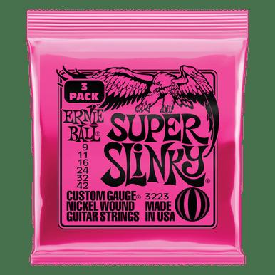 Ernie Ball Super Slinky Nickel Wound Electric Guitar Strings - 9-42 Gauge, 3 Pack
