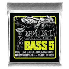 Ernie Ball Bass 5 Slinky Coated Electric Bass Strings, 45-130 Gauge