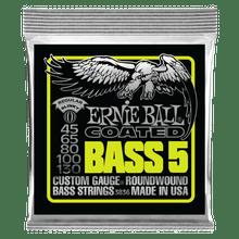 Ernie Ball Bass 5 Slinky Coated Electric Bass Strings, 45-130 Gauge