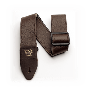 Ernie Ball 2 inch Tri-Glide Italian Leather Strap, Brown