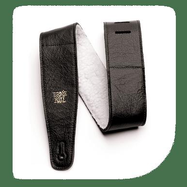 Ernie Ball 2.5 inch Adjustable Italian Leather Strap with Fur Padding, Black
