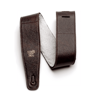 Ernie Ball 2.5 inch Adjustable Italian Leather Strap with Fur Padding, Chestnut