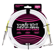 Ernie Ball 3 MetersStraight / Angle Instrument Cable, White