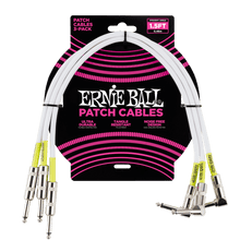 Ernie Ball Straight / Angle Patch Cable 3 Pack, White, 45 cm Length