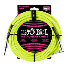 Ernie Ball 7.5 Meter Braided Straight / Angle Instrument Cable Neon, Yellow