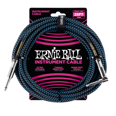 Ernie Ball 7.5 Meter Braided Straight / Angle Instrument Cable, Black / Blue