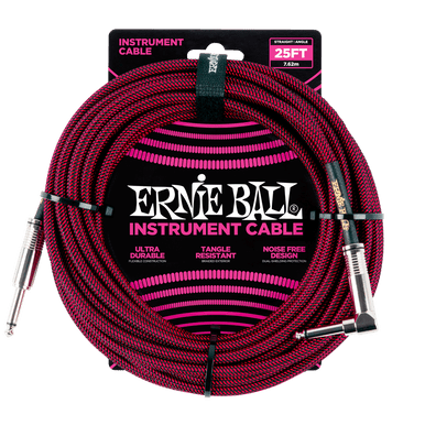 Ernie Ball 7.5 Meter Braided Straight / Angle Instrument Cable, Black / Red