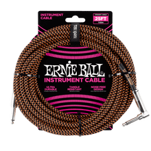 Ernie Ball 7.5 Meter Braided Straight / Angle Instrument Cable, Black / Orange