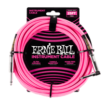 Ernie Ball 7.5 Meter Braided Straight / Angle Instrument Cable, Neon Pink