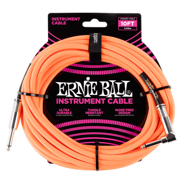 Ernie Ball 3 Meters Braided Straight / Angle Inst Cable, Neon Orange