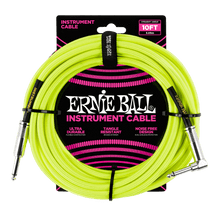 Ernie Ball 3 Meters Braided Straight / Angle Inst Cable, Neon Yellow