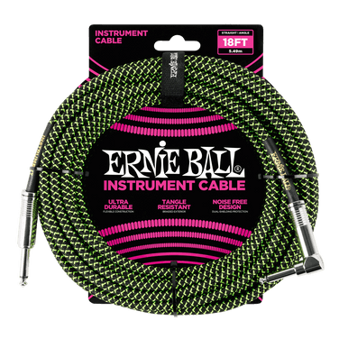 Ernie Ball 5.5 Meters Feet Braided Straight / Angle Inst Cable, Black/Green