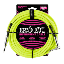 Ernie Ball 5.5 Meters Braided Straight / Angle Inst Cable, Neon Yellow