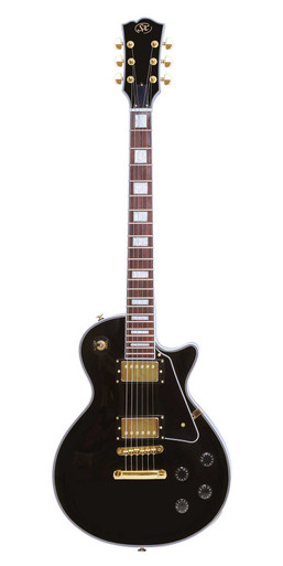 SX Les Paul set neck guitar in Gloss Black and Gold Hardware
