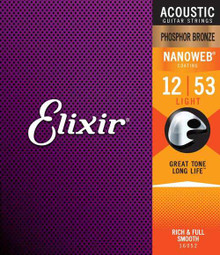 Elixir Nano Web Phosphor Bronze Acoustic Guitar Strings 12-53