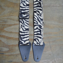 Brown & Black Zebra Faux Fur Guitar Strap
