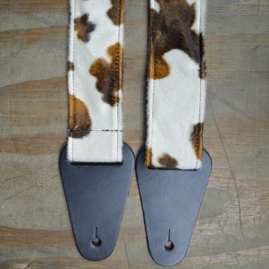 Brown & White Cow Faux Fur Guitar Strap