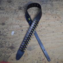 Brass Shells on Black Leather Guitar Strap