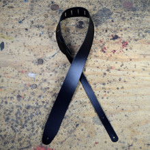 "Black 2.5"" Leather Guitar Strap Extra Long"