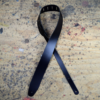 """Black 2.5"""" Leather Guitar Strap Extra Long"""