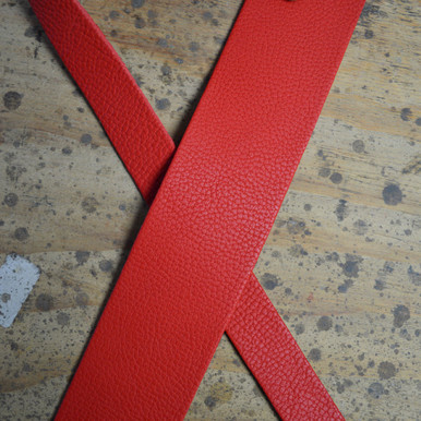 """Red 2.5"""" Leather Guitar Strap"""