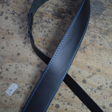 "Blue Stitched Black 2.5"" Leather Guitar Strap"