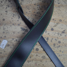 "Green Stitched Black 2.5"" Leather Guitar Strap"