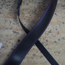 "Purple Stitched Black 2.5"" Leather Guitar Strap"