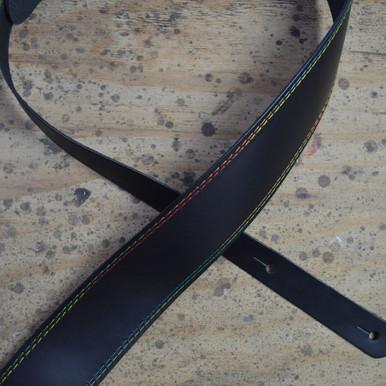 "Rainbow Stitched Black 2.5"" Leather Guitar Strap"