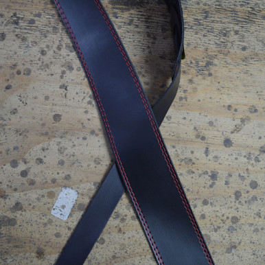 "Red Stitched Black 2.5"" Leather Guitar Strap"