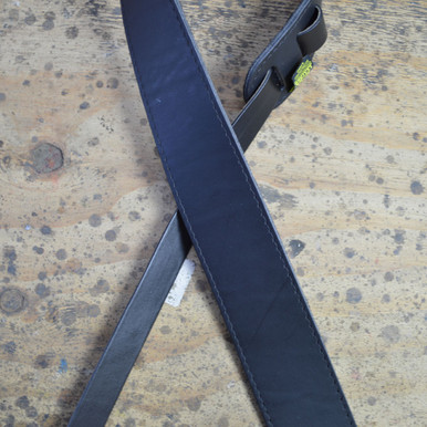 """2.5"""" Sueded Black Solid Hide Leather Guitar Strap"""