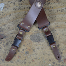Clip Buckle Brown Leather Guitar Strap