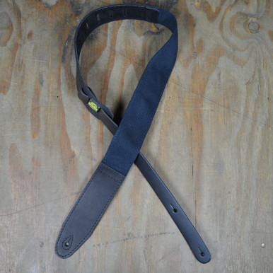 "2.5"" Leather & Cotton Webbing Guitar Strap"