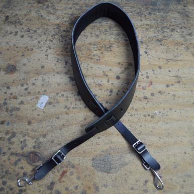 Black Leather Foam Padded Banjo Cradle with Hooks