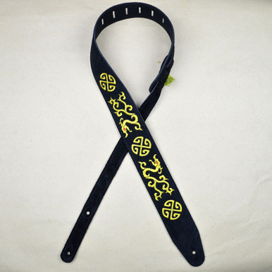 Yellow Gold Chinese Dragon Embroidered Black Suede Guitar Strap