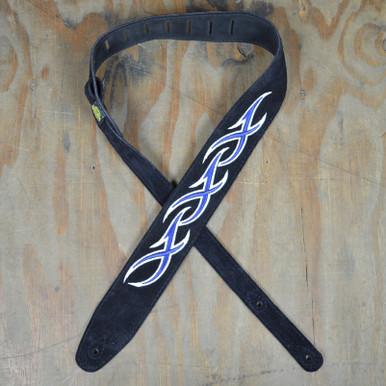 Blue & White XXX Embroidered Black Suede Guitar Strap