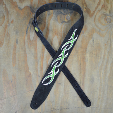Green & White XXX Embroidered Black Suede Guitar Strap