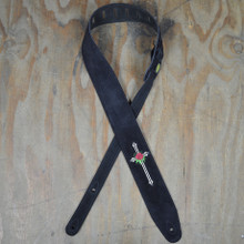 Rose & Cross Embroidered Black Suede Guitar Strap