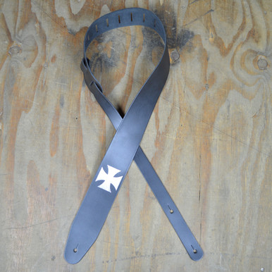 Foil Printed Cross Black Leather Guitar Strap