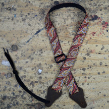 Aboriginal Art Rag Ukulele Strap - Women Collecting Water Brown