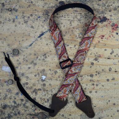 Aboriginal Art Rag Ukulele Strap - Women Collecting Water Brown